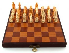 Vintage 20th C Ivory Chinese Chess Set Complete
