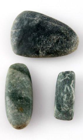 Lot Of Three Green Stone Maya Artifact Celts