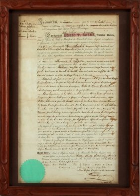 1854 Louis T Caire French Slave Sale Document