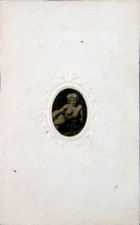 Miniature Tintype Photo Of Well Endowed Nude Woman