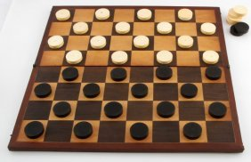 Antique Ivory And Ebony Checkers Set With Board
