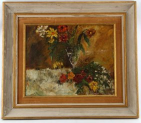 "Oil On Canvas Painting Of Flowers Signed ""burliuk"""