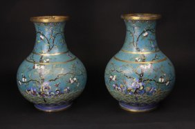 Antique Pair Of Chinese Cloisonne Bottle Vases