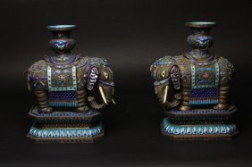 Antique Chinese Pair Of Enamel Candle Holders