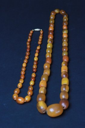 Antique Two Chinese Amber Chains