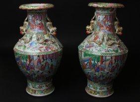 Antique Chinese Pair Of Rose Mandarien Vases