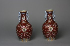 Antique Pair Of Chinese Porcelain Vase