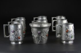 Antique Set Of Chinese Pewter Vessels