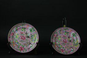 Antique Pair Of Chinese Rose Medallion Plates