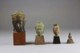 Four Bronze Of 3 Buddha Heads And Buddha 4pcs