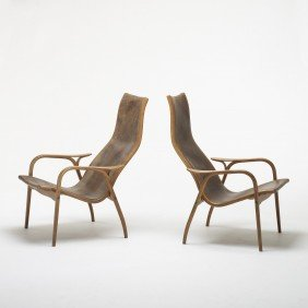 Yngve Ekstrom Lamino Chairs, Pair