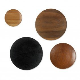 Prestini Collection Of Four Turned-wood Plates