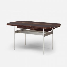 In The Manner Of Florence Knoll Custom Drop-leaf Desk