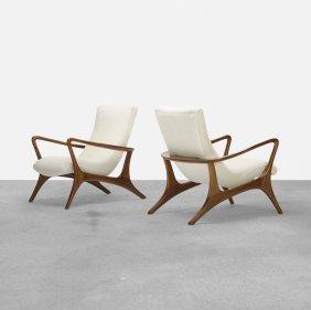 Vladimir Kagan, Contour Lounge Chairs, Pair