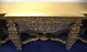 Antique Style Ornate Gold Gilded Wooden Sideboard Table