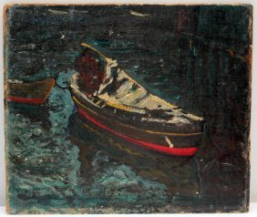 Oil On Board Painting Of Boat At Dock