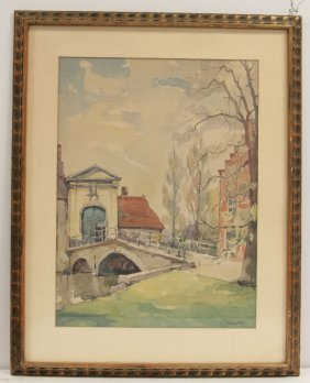 European Watercolor With Bridge And Geese Signed