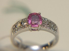 18 Kt Wg Pink Sapphire And Diamond Ring