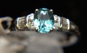 14 Kt. Wg, Blue Topaz & Diamond Ring