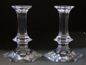Pair Of Val St Lambert Crystal Candlesticks