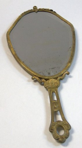 Austrian Gilt Metal And Hand Painted Porcelain Mirror