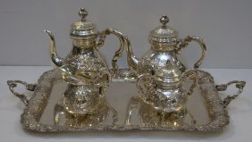925 Sterling Silver Repouse 5pc Tea Set