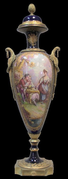 Sevres Porcelain Palace Size Bronze Covered Urn