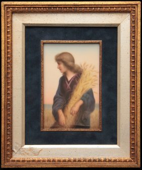 German Hand Painted European Plaque Of Ruth