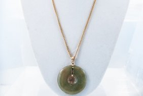 14k Nephrite Jade Necklace Featuring A Large Jade Disk