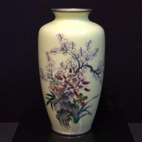 Japanese Cloisonne Yellow Vase