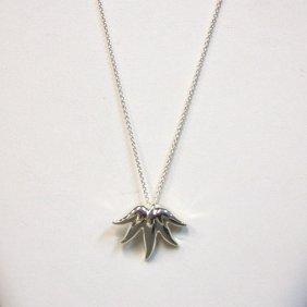 Vintage Tiffany & Co Sterling Leaf Pendant On Chain