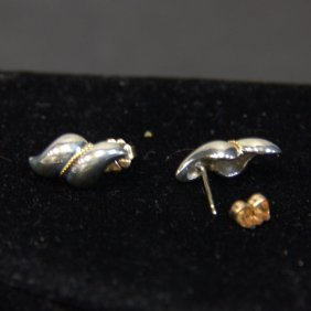 Vintage Tiffany & Co With 14kt Yg's Sterling Earrings