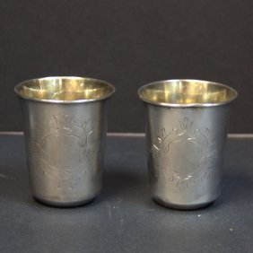 Pair Of Russian Silver Kiddish Cups