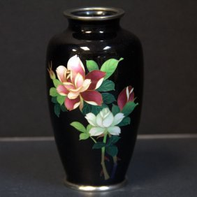 Japanese Black Cloisonne Floral Vase