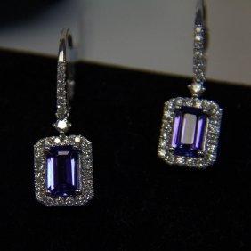 18kt Wg Tanzanite & Diamond Earrings