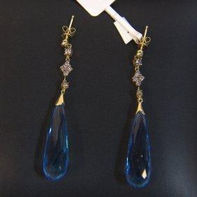 14kt Yg Blue Topaz & Diamond Earrings