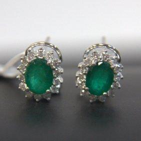 18kt Wg Emerald & Diamond Earrings