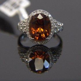 14kt Wg Brown Zircon & Diamond Ring