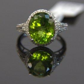 14kt Wg Peridot & Diamond Ring