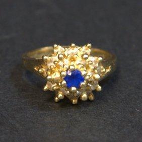 10kt Yg Diamond & Sapphire Ring