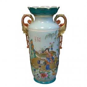 Antique Chinese 2 Handled Porcelain Vase