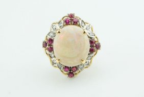 196K: 1960's 14k Yellow Gold Opal Ruby & Diamond Ring