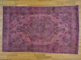 Semi Antique Handmade Persian Tabriz Overdyed Rug
