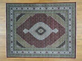 All Over Design Tabriz Mahi Wool And Silk Handmade Rug