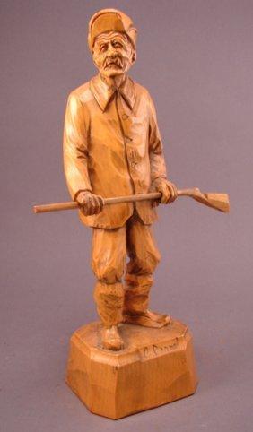 3017 C Caron Signed Carved Wood Sculpture Quebec Ca