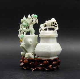 Chinese Jadeite Carved Flower Vase Group W/ Stand