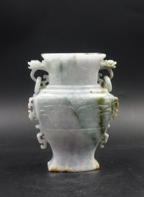 CHINESE JADEITE VASE WITH TWIN EAR AND BEAST MASK