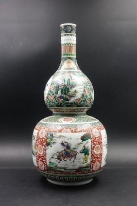 Chinese Kangxi Wucai Double Gourd Vase