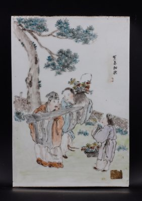 Chinese Painted Porcelain Plaque Of Figural Scene