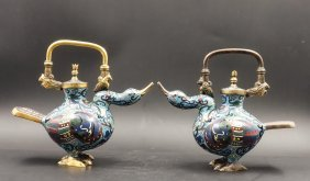 A Chinese Pair CloisonnÉ Duck Wine Ewer